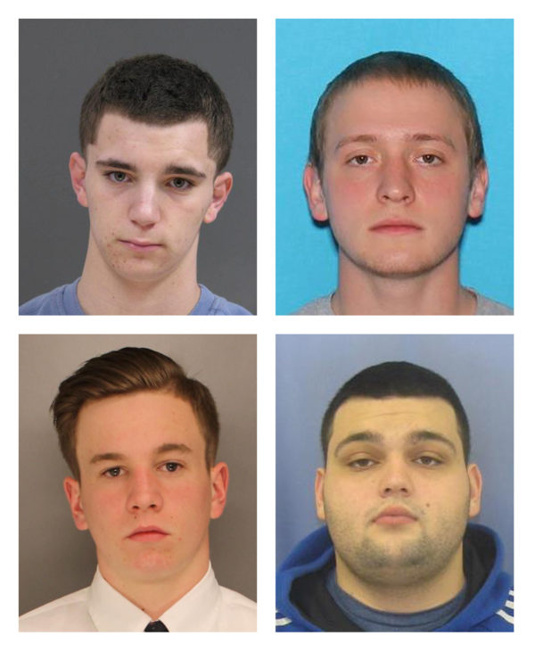 Bucks County District Attorney's Office photos show L-R, top row:  Dean Finocchiaro, 18, and Tom Meo, 21, L-R bottom row: Jimi Patrick, 19, and Mark Sturgis, 22 as authorities say they are searching for the four missing men in Bucks County, about 40 miles north of Philadelphia, Pennsylvania, July 11, 2017.