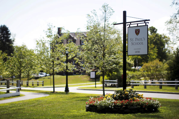 A sign marks the entrance to St. Paul's School in Concord, New Hampshire, Aug. 20, 2015.