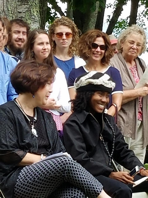 Descendants of the people forcibly removed from Malaga Island gather at Pineland Farms in New Gloucester for the dedication of a memorial.