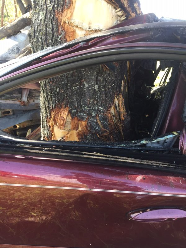 A 1998 Buick Regal driven by a 16-year-old from Washburn was nearly split in two when it struck a large tree head on along New Dunntown Road in Wade. State police said that speed was a factor in the crash and that the driver was seriously injured.