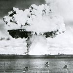 This U.S. Navy file handout image shows Baker, the second of the two atomic bomb tests, in which a 63-kiloton warhead was exploded 90 feet under water as part of Operation Crossroads, conducted at Bikini Atoll in July 1946 to measure nuclear weapon effects on warships.