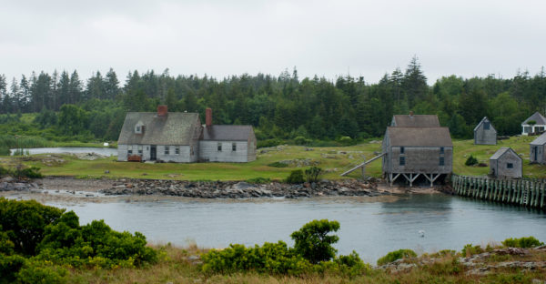 A view of the Wyeth home on Benner Island, across a channel from Allen Island.