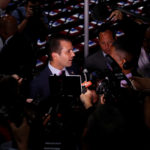 Donald Trump Jr. gives a television interview at the 2016 Republican National Convention in Cleveland, Ohio U.S. July 19, 2016.