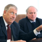Former gubernatorial candidate, Eliot Cutler (left) and University of Maine System Chancellor James Page.