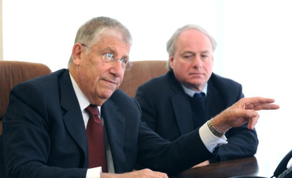 Former gubernatorial candidate, Eliot Cutler (left) and University of Maine System Chancellor James Page.