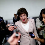 Senator Susan Collins speaks with reporters about the withdrawn Republican health care bill on Capitol Hill in Washington on Tuesday, July 18, 2017.