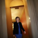 U.S. Senator Susan Collins (R-ME)  leaves a meeting of the Senate Republican caucus for the unveiling of Senate Republicans' revamped proposal to replace Obamacare health care legislation at the U.S. Capitol in Washington on July 13, 2017.