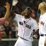 Boston Red Sox first baseman Hanley Ramirez (13) reacts after hitting a walk off home run during the fifteenth inning against the Toronto Blue Jays at Fenway Park.
