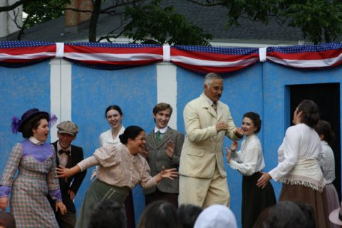 The cast of &quotTintypes&quot rallies around President Teddy Roosevelt (Andre Blanchard). The musical will be performed by Cold Comfort Theater through Saturday in Wales Park in Belfast.