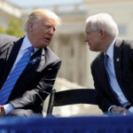 President Donald Trump speaks with Attorney General Jeff Sessions as they attend the National Peace Officers Memorial Service on the West Lawn of the U.S. Capitol in Washington, May 15, 2017.