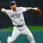 New York Yankees third basemen Todd Frazier (29) warms up during his first game as a Yankee.