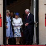 Britain's Queen Elizabeth and Prince Philip walk with the Governor General of Canada, David Johnston and Canadian High Commissioner Janice Charette as they depart Canada House in London, Britain July 19, 2017.