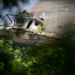 A boat that got stuck in the mud six years ago is seen in Hampden Wednesday.