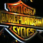 The logo of Harley-Davidson is pictured at the 38th Bangkok International Motor Show in Bangkok, Thailand, March 28, 2017.