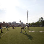 Foxcroft and Houlton face off during Hampden Academy's 7-on-7 summer football passing league in Hampden Thursday.