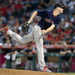Boston Red Sox starting pitcher Chris Sale (41) throws in the third inning against the Los Angeles Angels at Angel Stadium of Anaheim.