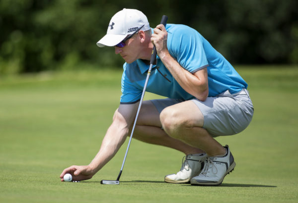 Jason Thresher lines up a putt during the final round of the Greater Bangor Open golf tournament held at the Bangor Municipal Golf Course Saturday.
