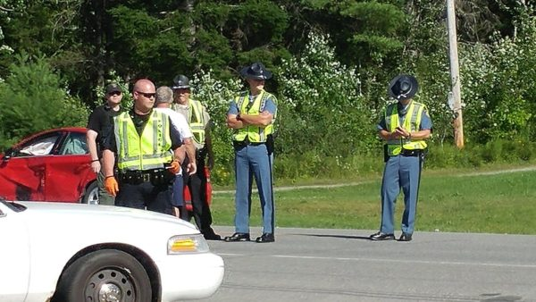 Officers from Lincoln and the Maine State Police are investigating a deadly car-motorcycle crash near Drinkwater's Variety on Route 2.