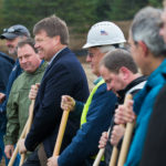 Municipal Review Committee Executive Director Greg Lounder (third from left) and Fiberight CEO Craig Stuart-Paul (center) stand among members of various companies involved in the development of the Fiberight municipal solid waste and recycling facility during the facility's groundbreaking ceremony in Hampden, Oct. 26, 2016. If all goes to plan, a $69 million waste-to-energy plant planned for Hampden will be up and running by April 1, 2018, according to the partnership that is building it.
