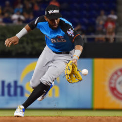 World infielder Rafael Devers (16) fields a ground ball during the 2017 MLB Futures Game at Marlins Park on July 9 in Miami. Devers has been called up by the Boston Red Sox. Jasen Vinlove | USA TODAY Sports