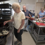 Edna Flagg (left) and other participants of a Cooking Matters class made a white bean basil chicken chili on Tuesday. Cooking Matters is a free program sponsored in part by the Good Shepherd Food Bank that helps adults learn how to prepare healthy meals and stretch their food dollars.