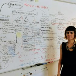 Julia Trujillo Luengo, the director of Portland's new Office of Economic Opportunity, stands in front of a whiteboard in her office where she'd attempting to map the city's socio-economic fabric.