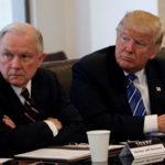 Donald Trump sits with U.S. Senator Jeff Sessions (R-AL) at Trump Tower in Manhattan, New York, U.S. on October 7, 2016.