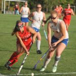 Abby Webber (left) of Dexter Regional High School is pictured during a game in 2016. On Saturday, she will be gather with the top senior players from last season for the Maine Field Hockey Association's McNally Senior All-Star Game at Thomas College in Waterville.