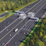 This rendering shows the Maine Turnpike Authority's proposed toll plaza with open-road tolling and cash lanes at mile marker 8.8 in York.