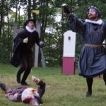 "Nathan Roach as Dr. Caius (left) Ryan George Collins as Sir Hugh Evans (right) and Nathan Reeves as Master Slender debate who should win the hand of Ann Page in William Shakespeare's ""The Merry Wives of Windsor."" Ten Bucks Theatre Company is performing the show outside at Indian Trail Park in Brewer and Fort Knox State Park in Prospect."