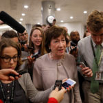 Senator Susan Collins (R-ME) speaks with reporters ahead of Tuesday's vote on the health care bill on Capitol Hill.