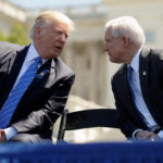 U.S. President Donald Trump speaks with Attorney General Jeff Sessions as they attend the National Peace Officers Memorial Service on the West Lawn of the U.S. Capitol in Washington, U.S. on May 15, 2017.