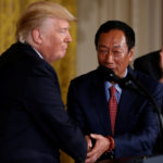 Foxconn Chairman Terry Gou (2nd R) shakes hands with U.S. President Donald Trump, flanked by House Speaker Paul Ryan (R-WI) (L) and Senator Ron Johnson (R-WI) (R), during a White House event where the Taiwanese electronics manufacturer announced plans to build a $10 billion dollar LCD display panel screen plant in Wisconsin, in Washington, U.S. July 26, 2017.