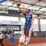 Danny Evans of Great Britain drives in for a layup during a game in the FIBA European U20 Division B basketball championships played in Romania. He will be a sophomore at the University of Maine next season.