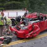 This 2009 Scion XB was destroyed in a collision with a tractor trailer truck in Hollis Thursday morning. The driver was hospitalized with critical injuries, according to police.