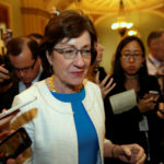 Sen. Susan Collins (R-ME) talks to reporters as she arrives for a Senate health care vote on Capitol Hill in Washington on July 27, 2017.