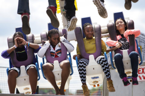 Riders enjoy the Freak Out during the Bangor State Fair at Bass Park in Bangor, July 30, 2016.