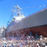 Streamers fill the air following the christening of the U.S.S. Rafael Peralta at Bath Iron Works in 2015.