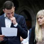 Charlie Gard's parents Connie Yates and Chris Gard read a statement at the High Court after a hearing on their baby's future.