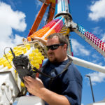 Scott Shanaman, non-destructive testing inspector with Aerial NDT Inspection Inc, follows up on the Freak Out with additional (not required) ultrasonic thickness testing by request of the ride owner following the fatal accident at the Ohio State Fair.