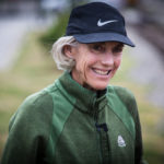 Olympic gold medalist Joan Benoit Samuelson smiles while talking to a running group in Portland before a training run in July. Samuelson, 60, said her life is about more than running these days but she'd still like to finish one more marathon in under three hours.