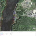 An image of Southern Cove in Orrington with the former HoltraChem plant, in the top right, and Penobscot Energy Recovery Co. in the bottom right, printed in a remediation report by environmental firms CDM Smith, Inc. and Anchor QEA. The circles indicate areas of mercury contamination in the Penobscot River.
