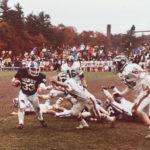 Jimmy Rouillard (#33), a 1981 Morse High School graduate, plays in a football game against Brunswick High School during his senior year. The 20th annual James D. Rouillard Golf Tournament will take place August 5 at the Bath Golf Club.