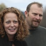 Nurse Kaci Hickox (left) joined by her boyfriend Ted Wilbur, speaks with the media outside of their home in Fort Kent, Maine in this Oct. 31, 2014, file photo.