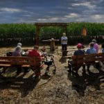 Sister George Ann Biskan leads a group of nuns and supporters during a prayer service at a chapel in a cornfield. The chapel was built there as part of a protest against a pipeline.