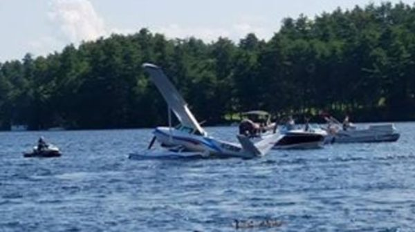 A seaplane crashed into Brandy Pond in Naples Saturday afternoon.