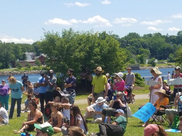 An estimated 200 Penobscot Nation members and elders and their supporters gathered at Bangor Waterfront Park Sunday afternoon for the Penobscot River Sovereignty Rally. The rally was held in protest over a June 30 federal appeals court ruling that said the while the tribe's reservation included Indian Island and all of the islands north of it, it did not include the watershed surrounding them.