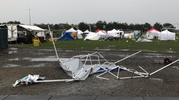Storm winds forced an evacuation of the Down East Lobster Roll Festival at Thompson's Point in Portland on Saturday.