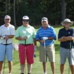 Golfers (from left) Jon Nicholson, Peiter DeVos, Wyman Tapley and Eric Morris teamed up to play 100 holes of golf at Kebo Valley Golf Club in Bar Harbor on Saturday to raise money for Acadian Youth Sports. The group completed the task in less than 14 1/2 hours and walked almost 23 miles.