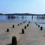 Pilings set deep in the sand near the northern end of Popham Beach are all that remain of the Boston Boat pier and the state pier, which according to historians was used by the Eastern Steamship Company boats from the 1880s until 1911. Neighbors and other Phippsburg residents objected when Jack Parker, whose house looks out over the pilings, applied to remove the pilings.